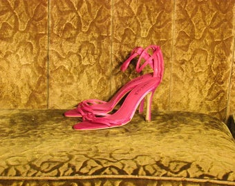 Women's Hot Pink Satin Nat-Sui Strappy High Heel Pumps Size 7 1/2 - 8