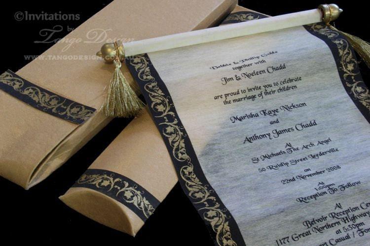 Scroll birthday invitation Vintage invite prince princess