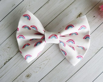 Rainbow Fabric Bow for Baby Toddler on Nylon Band or Alligator Clip Summer Baby Shower