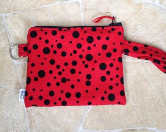Notions pouch red with black dot