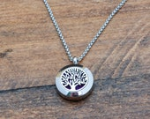 Essential Oil Diffuser Necklace for Women - Tree of Life Necklace - Diffuser Jewelry - Aromatherapy Jewelry - Small Diffuser Locket Necklace