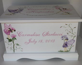 Baby Keepsake Box Baby Keepsake chest memory box for girl Fairies and Wildflowers  hand painted personalized baby gift