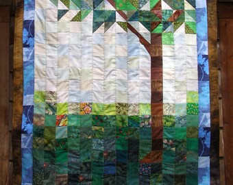 Tree landscape wall hanging or table topper