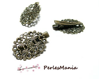 10 support of hair clip alligator style oval bronze RETRO 2Z6827, DIY
