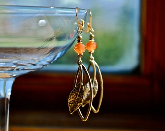 Antique bronze unique leaf design earrings- with silver, copper, and assorted bead accents. Gift for birthday,and all occasions