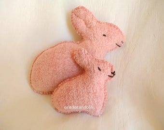 Bunnies soft toys mother and child handmade of natural materials NO MACHINE INVOLVED