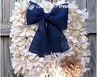 Rag Wreath, Everyday Wreath, Fabric Wreath, Square Wreath, Wreath, home decor, indoor decor, front door wreath