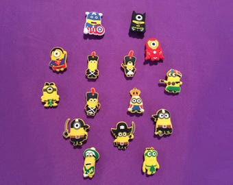 Minions Shoe Charms for Crocs, Silicone Bracelet Charms, Party Favors, Jibbitz / Minions Kids PVC necklaces