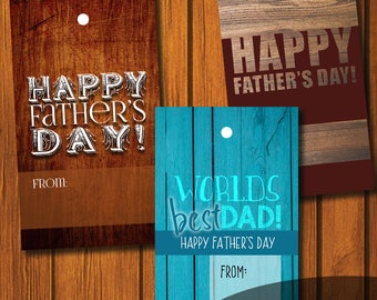 Father's Day gift tags / Happy Father's Day / Worlds Best Dad / Gift Tag / DIY Gift Tag / Instant Download / Rustic Father's Day gift tag