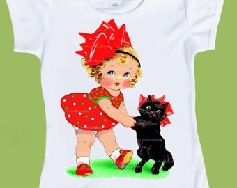 Vintage Christmas t-Shirt,Girl with Black Cat, Toddler TShirt, Girls Shirts, Retro Girls,One Piece Baby, tshirt by ChiTownBoutique.etsy