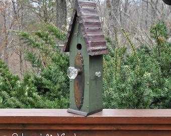 """Green Rustic Birdhouse  """"The Loft"""" - Unique Birdhouse - Wooden Birdhouse - Outdoor Birdhouse - Vintage Birdhouse - Painted Birdhouse"""