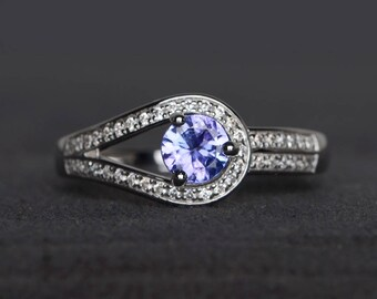 engagement ring natural tanzanite ring round cut gemstone sterling silver ring December birthstone