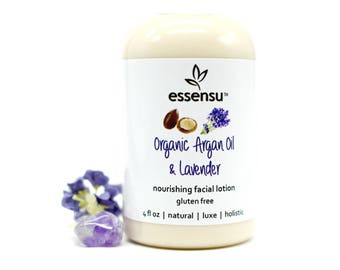 Organic Argan Oil Lavender Natural Luxury Facial Moisturizer | Dry Skin Lotion | Sensitive Skin | All Skin Types | Vegan | No Gluten - 4 oz