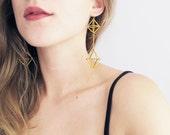 Himmeli inspired statement earrings, geometric earrings in gold or silver