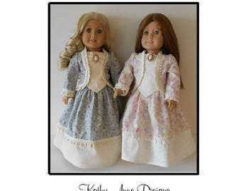 """Civil War Era dress PDF pattern fits 18"""" dolls"""