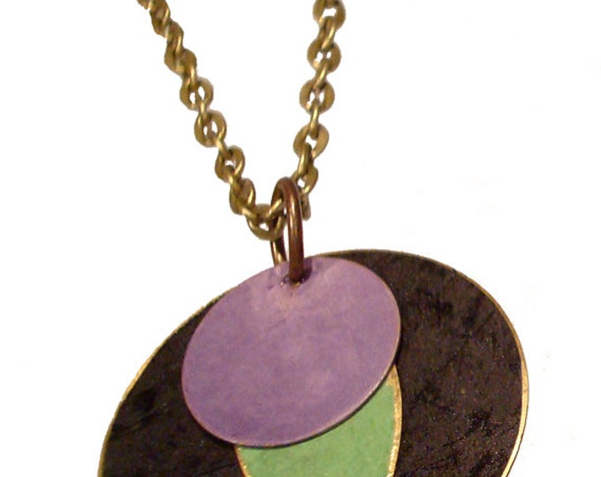 Large Round Brass Patina Pendant in Black, Lime and Purple