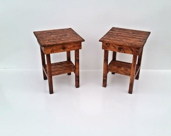 End Table Set With Drawer/Night Stand Set With Drawer/Rustic Table Set /Side Table/Bedside Table Set/Custom/Farmhouse Style Table Set