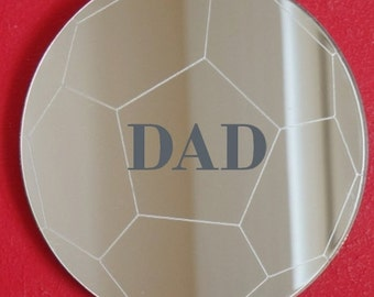 Engraved Football Shaped Mirror (Personalised Bespoke Football Mirror) - 5 Sizes Available
