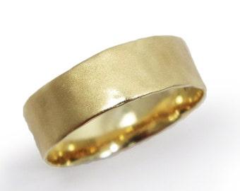 Hammered matte wedding band.  6.7mm Wide wedding ring- 14k  gold band  his and hers wedding band, matte wedding ring ,women wedding band