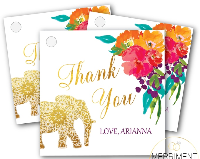 Indian Themed Elephant Favor Tags // Thank you tags // Floral // Mandala // Gold // Pink // Printed or Printable DIY // JAIPUR COLLECTION