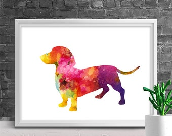 Dacshund Dog Watercolor Art Print - Giclee Wall Decor Home Decor Housewarming Gift Birthday Gift Pet Lover's Gift