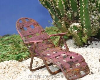 Rustic Lounge Chair for Miniature Garden, Fairy Garden