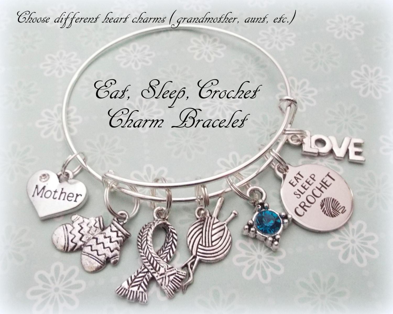 Crochet charm bracelet gift for knitter gift ideas for mother crochet charm bracelet gift for knitter gift ideas for mother personalized gift gift for woman who crochets custom jewelry gift negle Images