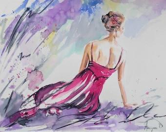 Original ballerina painting,watercolor ballerina painting,ballet painting,ballet watercolor,ballerina sitting,pink ballerina,purple ballet