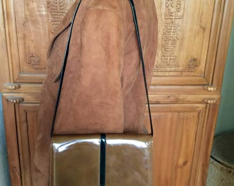 Vintage Modern 60s I. Magnin Patent Leather Vinyl Dual Shoulder Strap Top Handle Clutch Handbag Purse