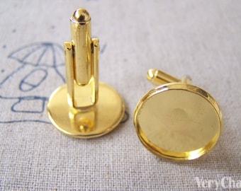 Gold Cufflinks Blank Round Bezel Setting Match 16mm Cabochon Set of 10 pcs  A561
