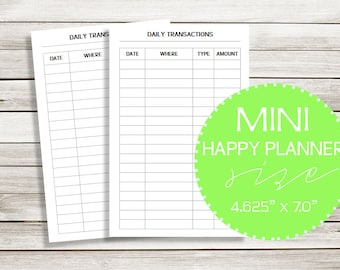 Daily Transaction Spending Tracker | MINI Happy Planner Printable Planner Inserts! | DreamPlanPrint | #05-2