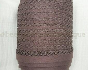 Brown Double Fold Crochet Bias Tape, Crochet Bias Tape, Picot Bias Tape, Quilt Binding, MOCHA Bias Tape By the Yard, Brown Lace Trim, Zakka