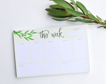 Week Planner Notepad - this week notepad - planning pad - to do list - weekly notepad - hand lettered notepad - list notepad - S2005