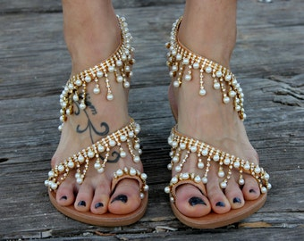 "Greek Sandals, Leather Sandals, Bridal Sandals, Wedding Sandals, ""Cleopatra"""
