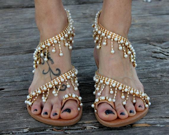 Sandales En Cuir Perles Iris Anciens Sandales Grecques moTKa