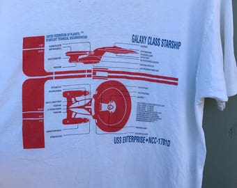 Vintage 1991 Star Trek Next Generation USS Enterprise Galaxy Starship Graphic T Shirt sz L