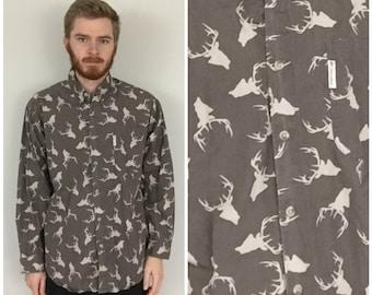 90s Columbia Deer Buck Elk Hunter Shirt size LARGE ~ 25745