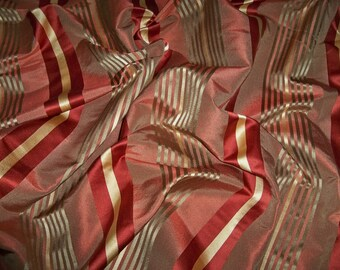 KRAVET LEE JOFA Sedona Silk Satin Stripes Fabric 1 Yard Remnant Cinnamon Clay Gold