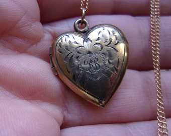 "Antique Victorian 12K Gold Filled Heart Locket with Monogram, Looks Like RB or KB in Script,  Charming old Antique Locket on long 24"" Chain"