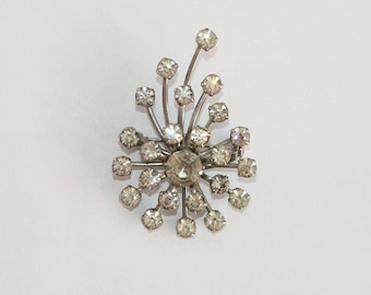 Vintage Clear Rhinestone Burst Spray Brooch Pin 1950s Mid Century Jewelry
