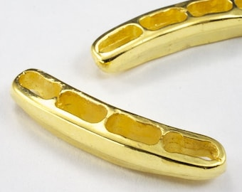 36mm Curved 4 Hole Gold Tone Spacer Bar (2 Pcs) #AGM015