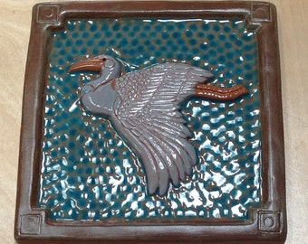 "6"" Heron Arts and Crafts Tile for fireplace, kitchen or bath. teal with light gray Craftsman, Mission,Bungalow,"