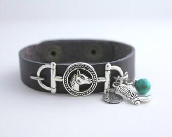 Equestrian Bracelet, Leather Cuff, Horse Bracelet,Barn Wedding, Cowgirl Bracelet, Southwestern Bracelet, 4H Gift, Cuff Bracelet, Barn Girl