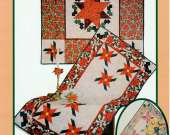 UNCUT Pine Tree Lodge Designs Pattern 133 - Pinwheel Poinsettias - Table Runner - Table Topper - Christmas