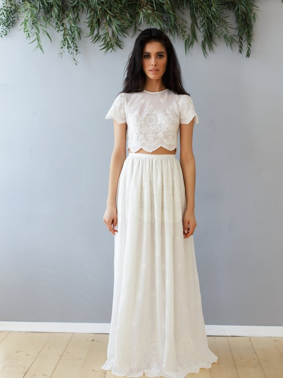 Top and skirt SS16 Wedding dress Boho wedding dress Romantic