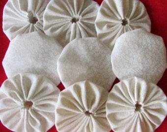 yo yos 100 2 inch Cream on cream fabric