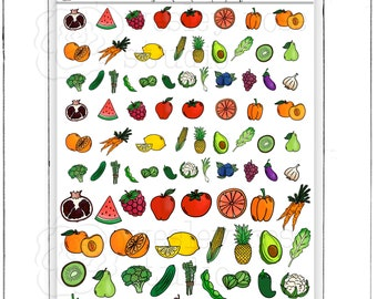 Fruits and Veggies Hand Drawn Planner Stickers