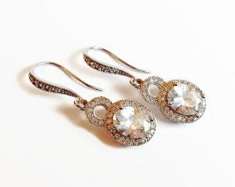 Cubic Zirconia Oval Bridal Earrings - Bridesmaid Gift - Wedding Jewelry