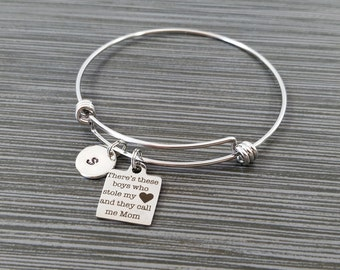 Mom Bracelet - Mother Son Bracelet - Expandable Charm Bracelet - Initial Bracelet - There's These Boys That Stole My Heart Bracelet