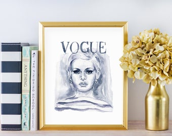 Vogue Fashion Print No.2, Vogue Cover Art, Giclee Print, Watercolor Fashion Illustration, Vogue Print, Watercolor Vogue Art, Fashion Art